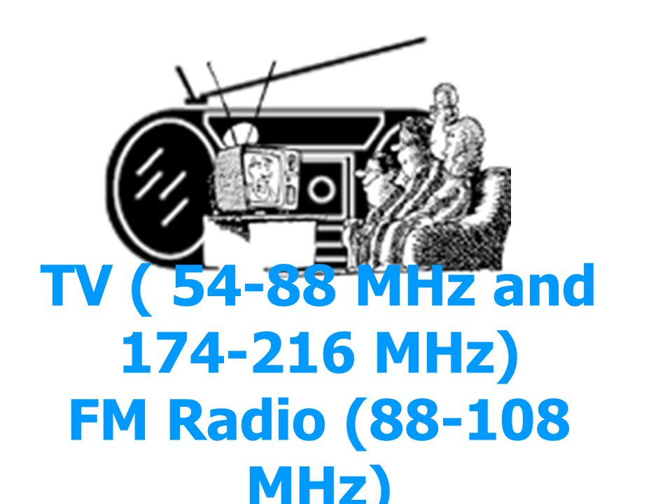 TV ( 54-88 MHz and 174-216 MHz) FM Radio (88-108 MHz)