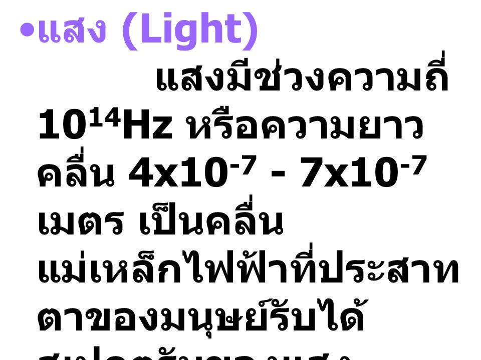 แสง (Light) แสงมีช่วงความถี่ 1014Hz หรือความยาวคลื่น 4x10-7 - 7x10-7 เมตร เป็นคลื่นแม่เหล็กไฟฟ้าที่ประสาทตาของมนุษย์รับได้ สเปกตรัมของแสงสามารถแยกได้ดังนี้