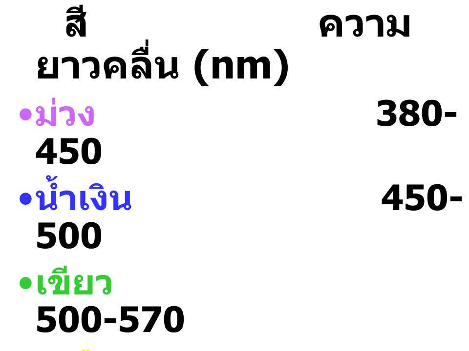 สี ความยาวคลื่น (nm) ม่วง 380-450 น้ำเงิน 450-500 เขียว 500-570