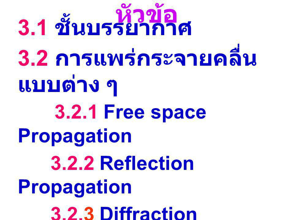 หัวข้อ 3.1 ชั้นบรรยากาศ. 3.2 การแพร่กระจายคลื่นแบบต่าง ๆ 3.2.1 Free space Propagation. 3.2.2 Reflection Propagation.