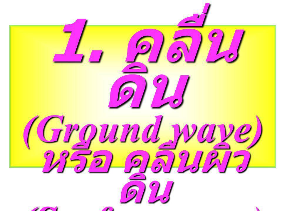 1. คลื่นดิน (Ground wave) หรือ คลื่นผิวดิน (Surface wave)