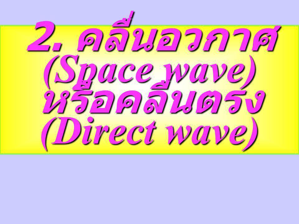 2. คลื่นอวกาศ (Space wave) หรือคลื่นตรง (Direct wave)