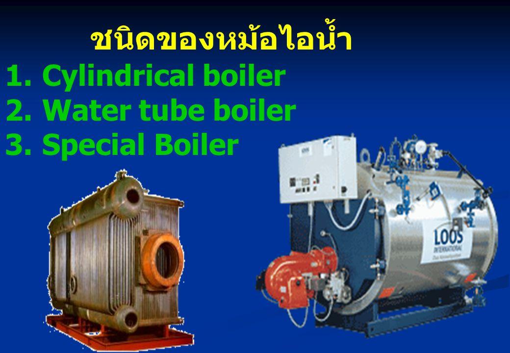 ชนิดของหม้อไอน้ำ Cylindrical boiler Water tube boiler Special Boiler