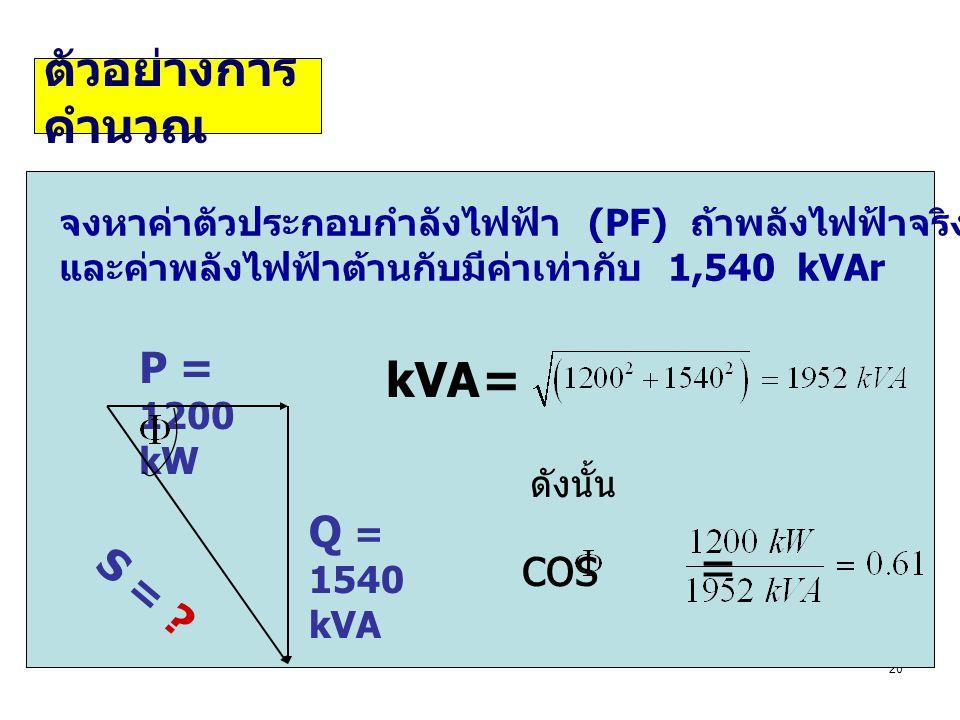 cos = ตัวอย่างการคำนวณ kVA = P = 1200 kW Q = 1540 kVA S =