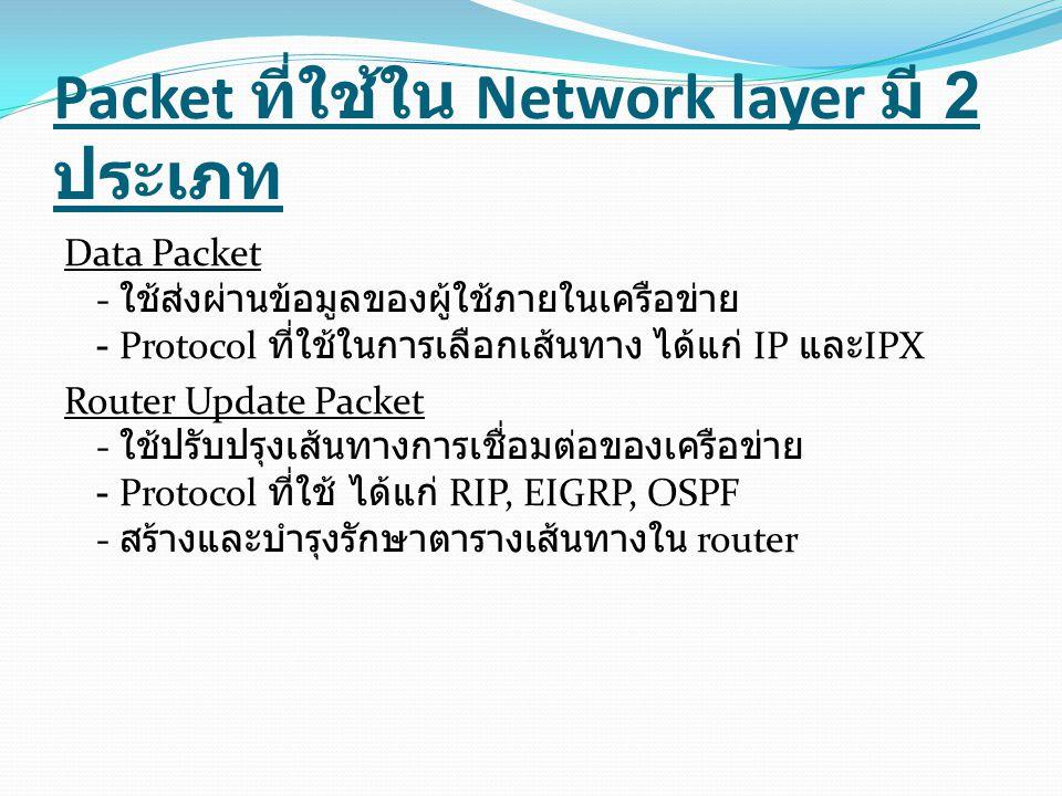 Packet ที่ใช้ใน Network layer มี 2 ประเภท
