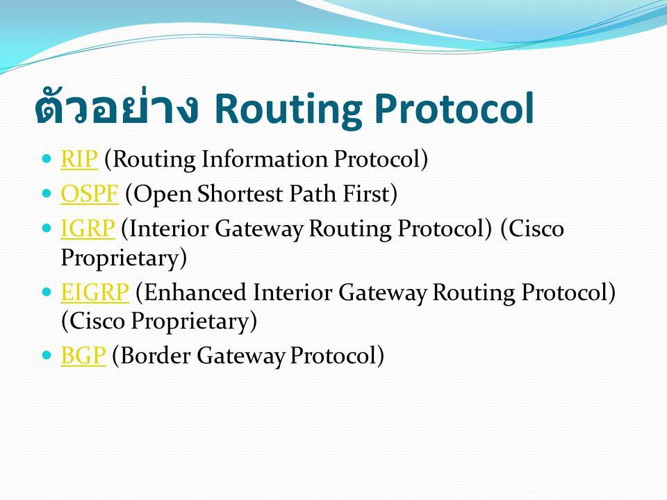 ตัวอย่าง Routing Protocol