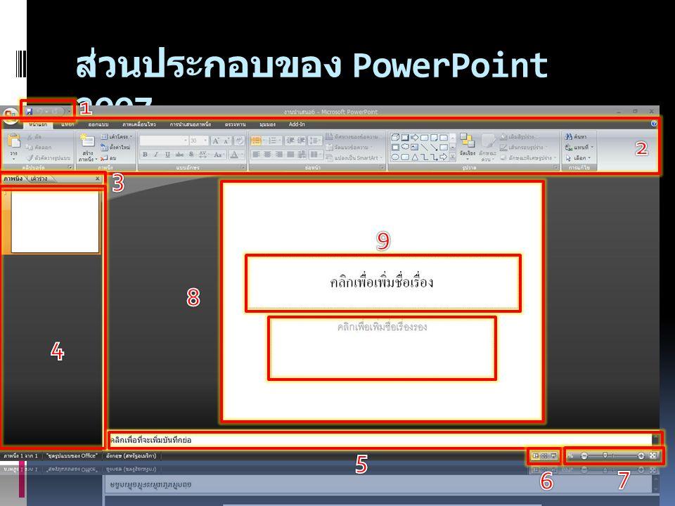 ส่วนประกอบของ PowerPoint 2007
