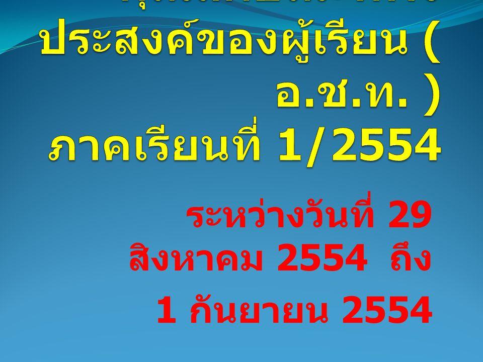 ระหว่างวันที่ 29 สิงหาคม 2554 ถึง 1 กันยายน 2554