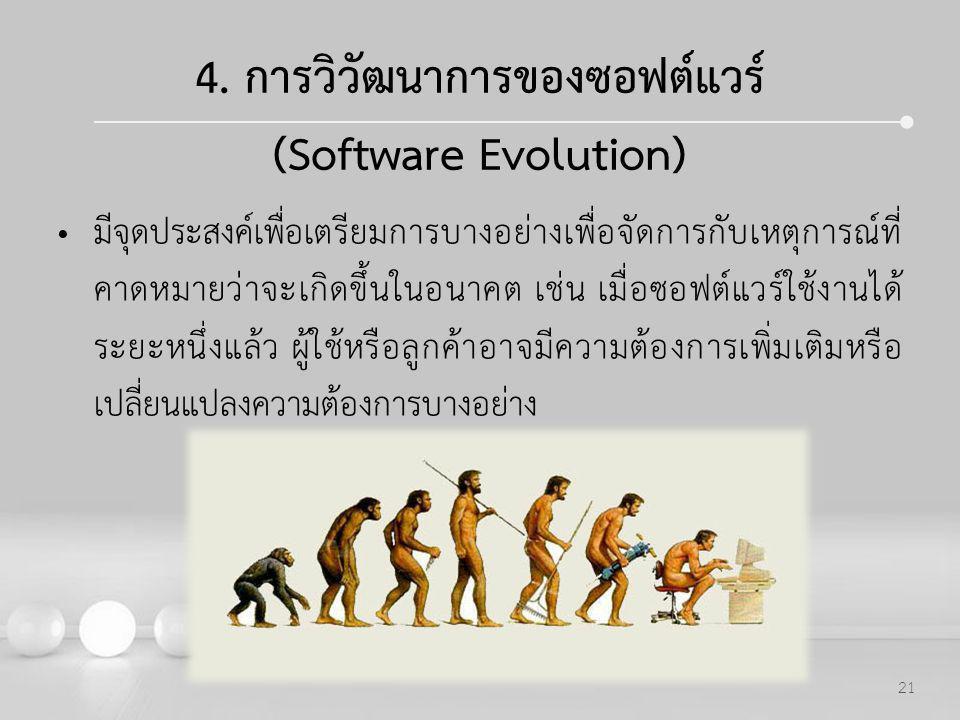 4. การวิวัฒนาการของซอฟต์แวร์ (Software Evolution)