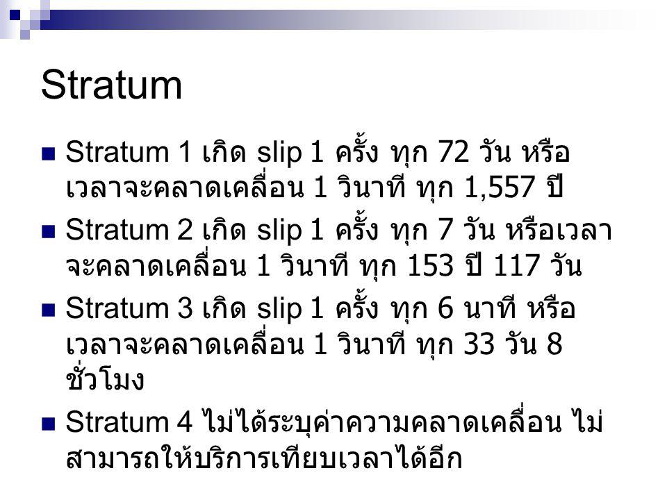 Stratum Stratum 1 เกิด slip 1 ครั้ง ทุก 72 วัน หรือเวลาจะคลาดเคลื่อน 1 วินาที ทุก 1,557 ปี