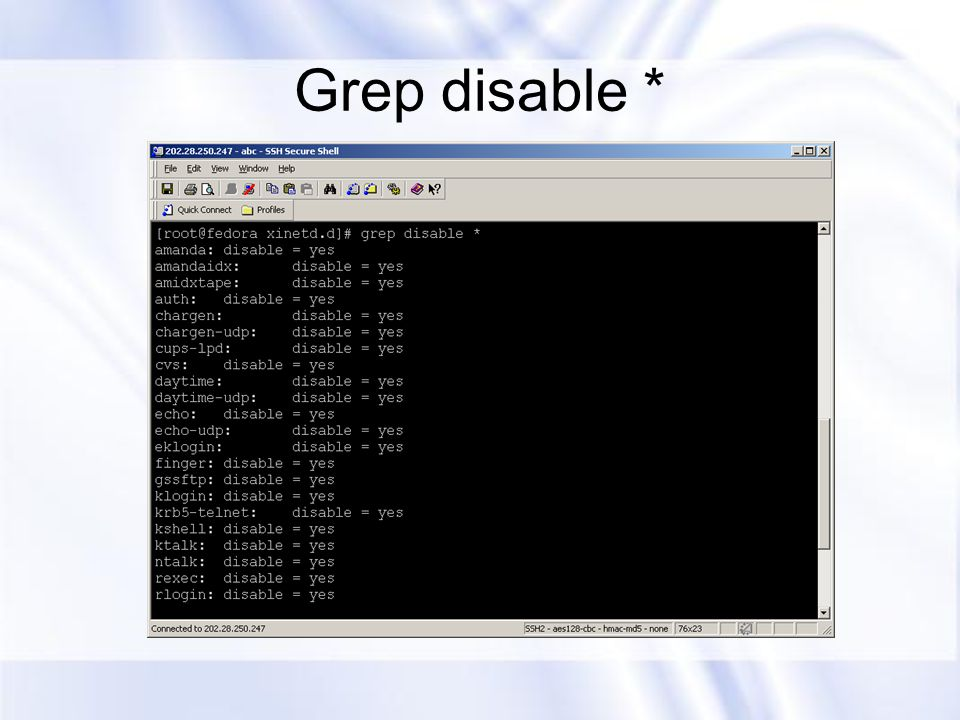 Grep disable *