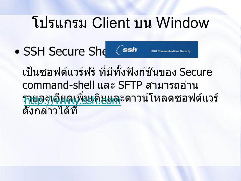 โปรแกรม Client บน Window
