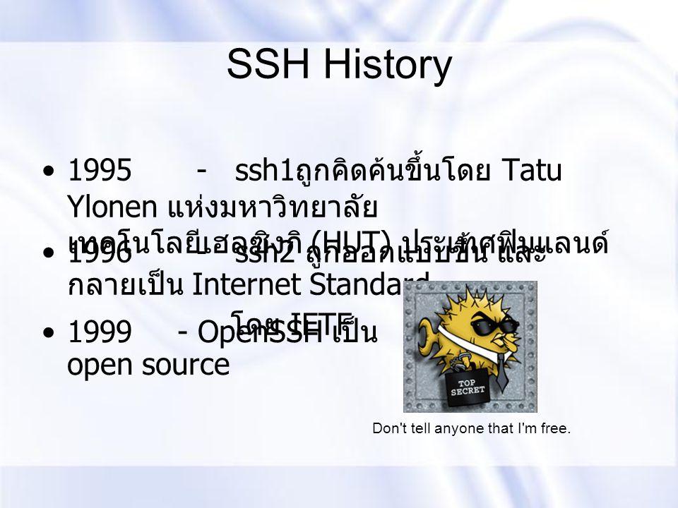 SSH History 1995 - ssh1ถูกคิดค้นขึ้นโดย Tatu Ylonen แห่งมหาวิทยาลัย เทคโนโลยีเฮลซิงกิ (HUT) ประเทศฟินแลนด์