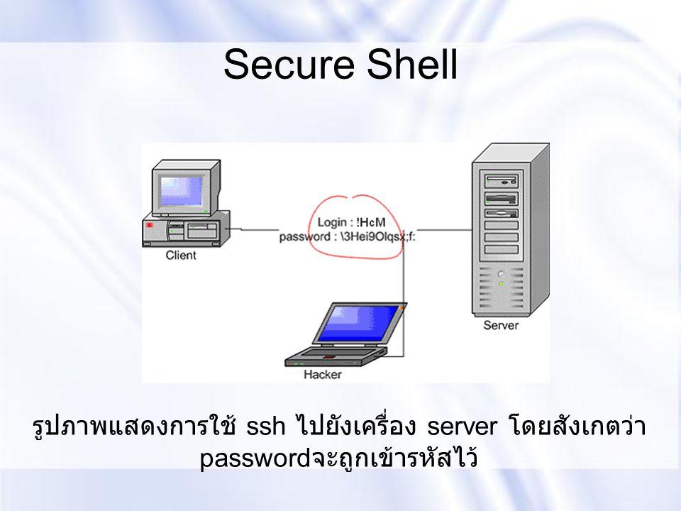 Secure Shell รูปภาพแสดงการใช้ ssh ไปยังเครื่อง server โดยสังเกตว่า