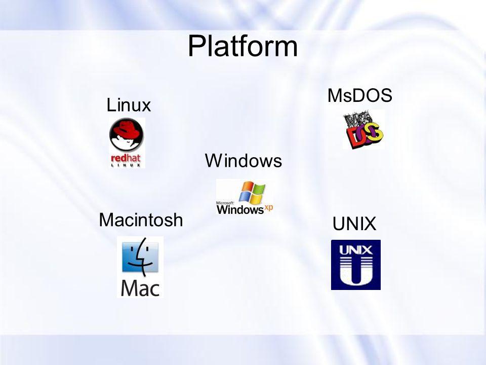 Platform MsDOS Linux Windows Macintosh UNIX