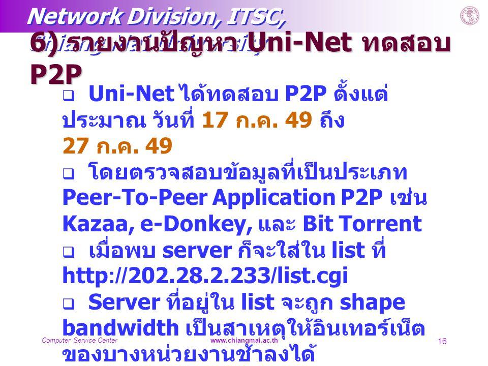 6) รายงานปัญหา Uni-Net ทดสอบ P2P