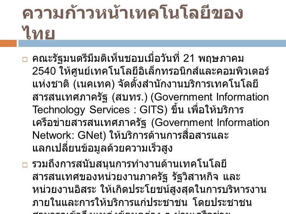 ความก้าวหน้าเทคโนโลยีของไทย