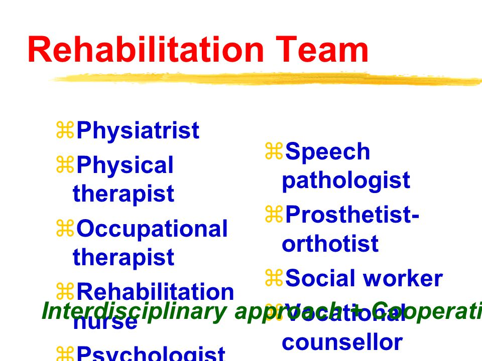 Rehabilitation Team Physiatrist Physical therapist Speech pathologist