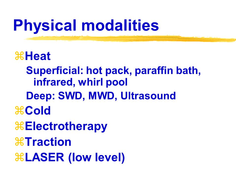 Physical modalities Heat Cold Electrotherapy Traction