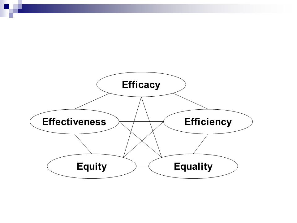 Efficacy Effectiveness Efficiency Equity Equality