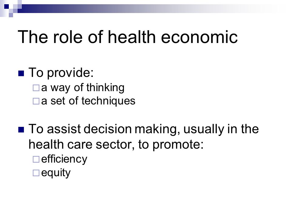 The role of health economic