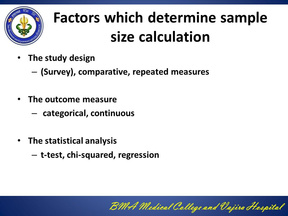 Factors which determine sample size calculation