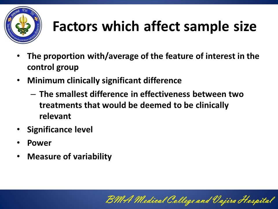 Factors which affect sample size