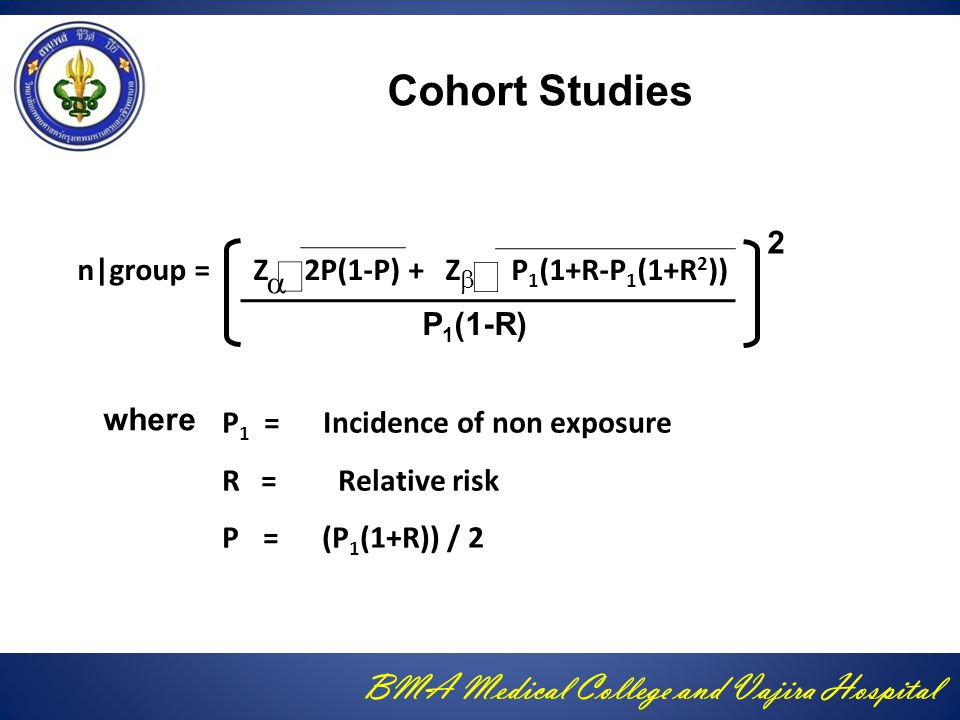 Cohort Studies 2 n|group = Z 2P(1-P) + Z P1(1+R-P1(1+R2)) P1(1-R)