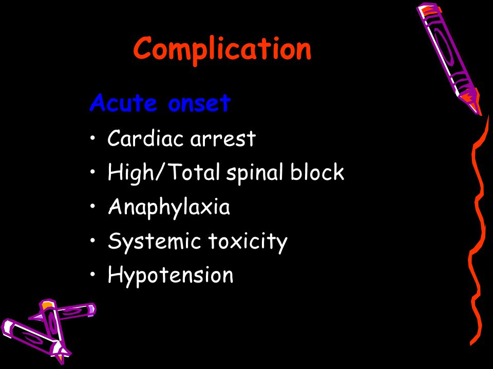 Complication Acute onset Cardiac arrest High/Total spinal block