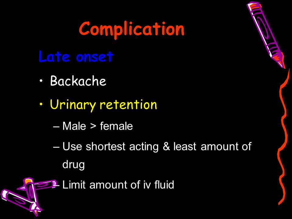Complication Late onset Backache Urinary retention Male > female