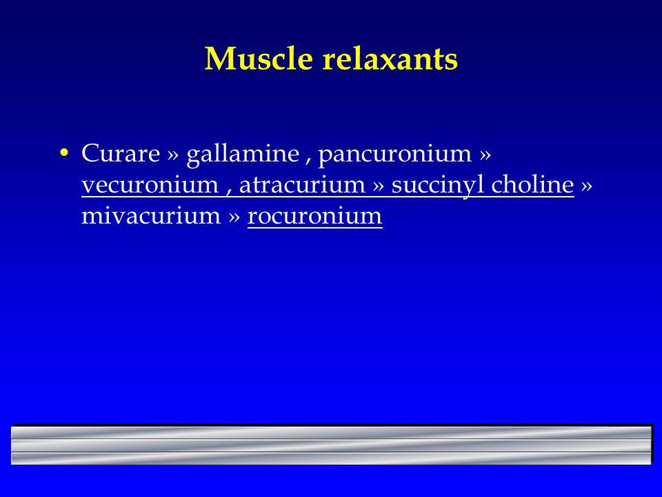 Muscle relaxants Curare » gallamine , pancuronium » vecuronium , atracurium » succinyl choline » mivacurium » rocuronium.