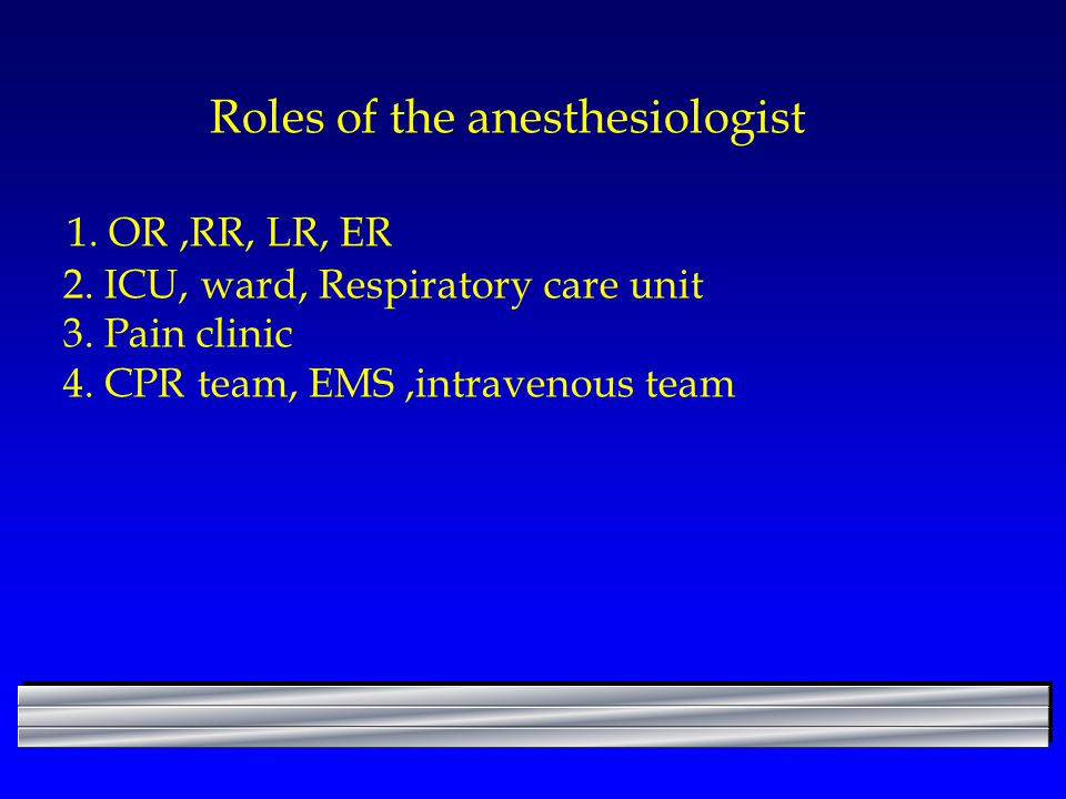 Roles of the anesthesiologist 1. OR ,RR, LR, ER 2