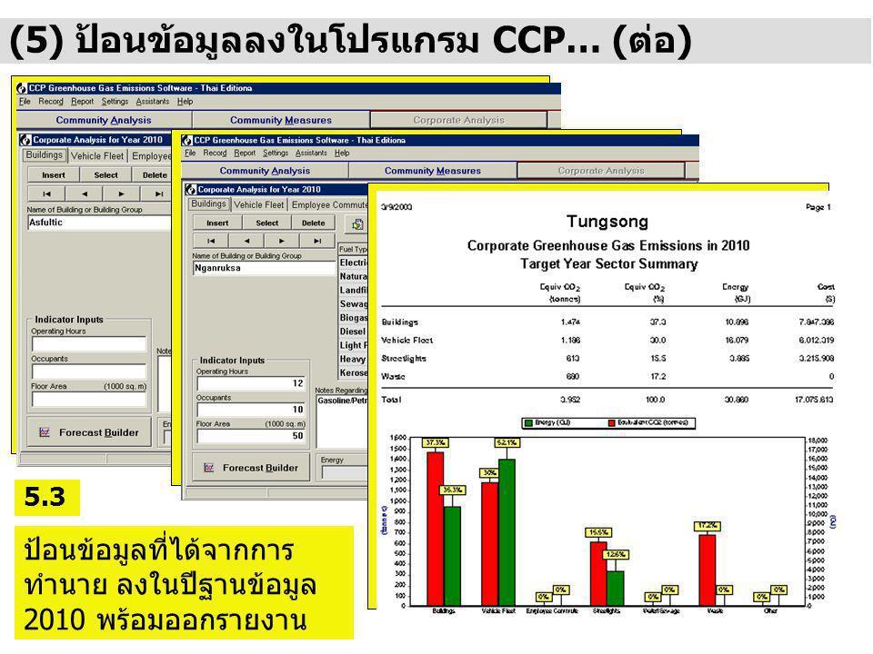 (5) ป้อนข้อมูลลงในโปรแกรม CCP… (ต่อ)