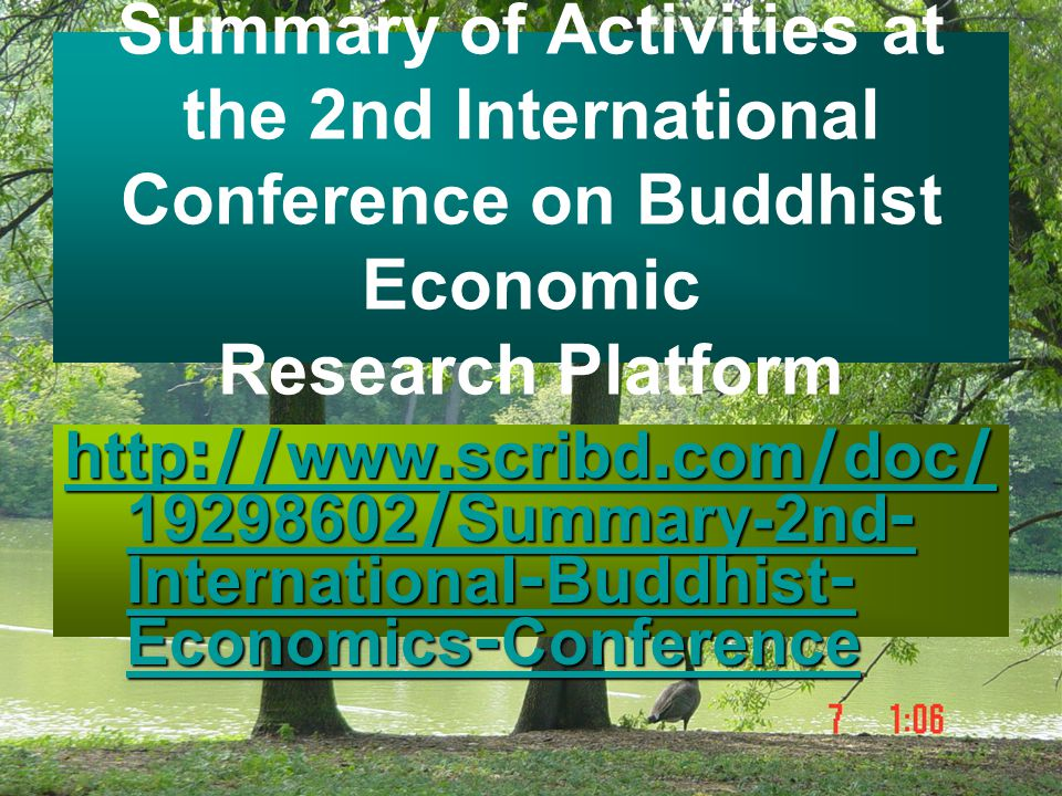 Summary of Activities at the 2nd International Conference on Buddhist Economic Research Platform