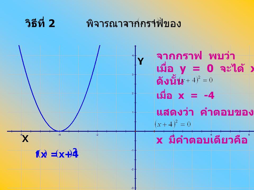 วิธีที่ 2 พิจารณาจากกราฟของ