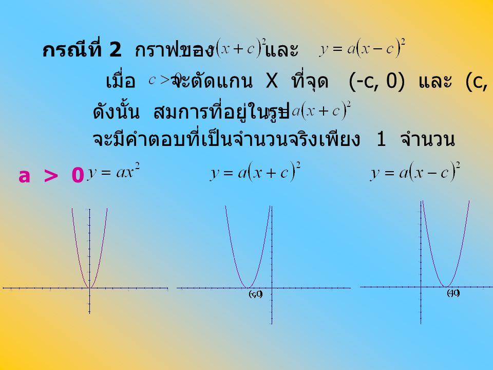กรณีที่ 2 กราฟของ และ. เมื่อ. จะตัดแกน X ที่จุด (-c, 0) และ (c, 0) ตามลำดับ. ดังนั้น สมการที่อยู่ในรูป.