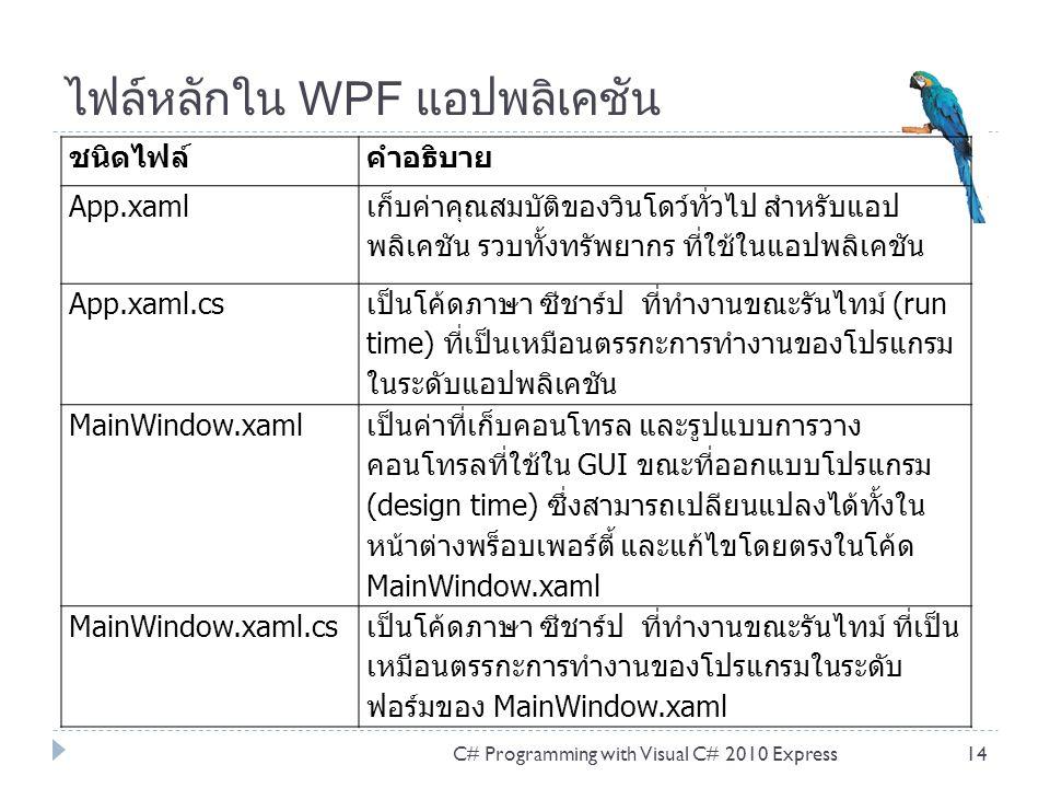 ไฟล์หลักใน WPF แอปพลิเคชัน