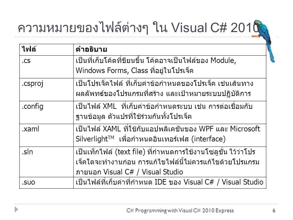 ความหมายของไฟล์ต่างๆ ใน Visual C# 2010