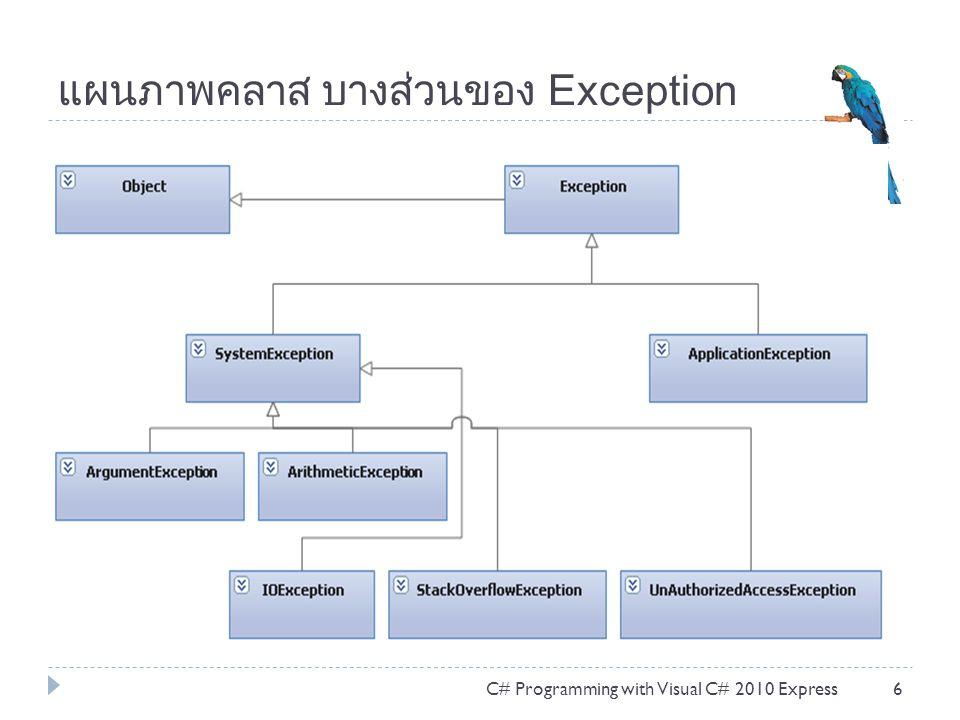 แผนภาพคลาส บางส่วนของ Exception
