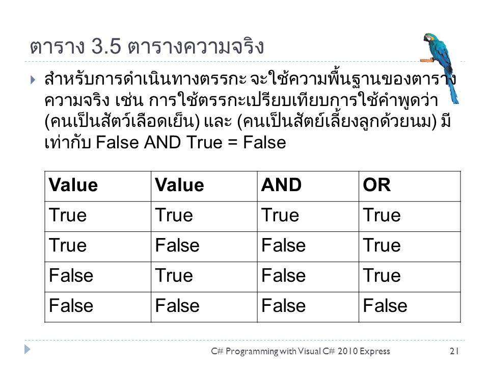 ตาราง 3.5 ตารางความจริง Value AND OR True False