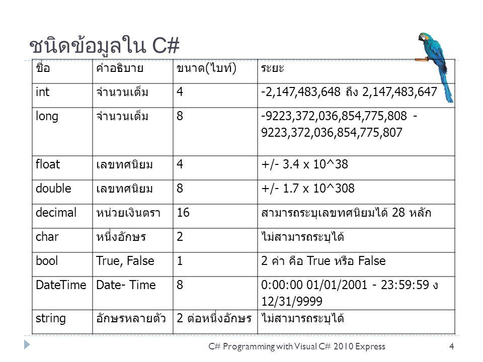 ชนิดข้อมูลใน C# ชื่อ คำอธิบาย ขนาด(ไบท์) ระยะ int จำนวนเต็ม 4