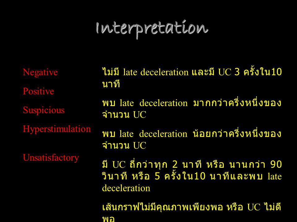 Interpretation Negative Positive Suspicious Hyperstimulation