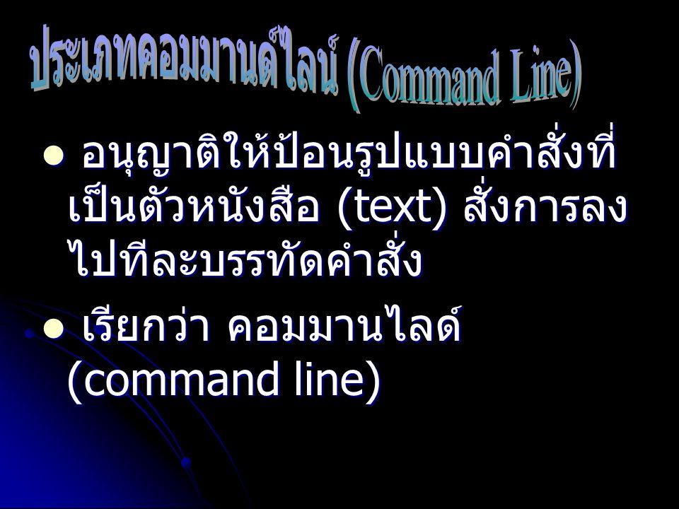ประเภทคอมมานด์ไลน์ (Command Line)