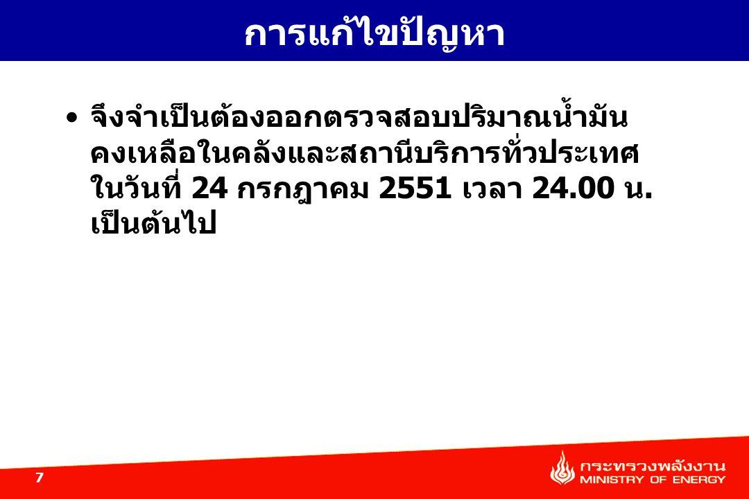 การแก้ไขปัญหา จึงจำเป็นต้องออกตรวจสอบปริมาณน้ำมันคงเหลือในคลังและสถานีบริการทั่วประเทศ ในวันที่ 24 กรกฎาคม 2551 เวลา 24.00 น.