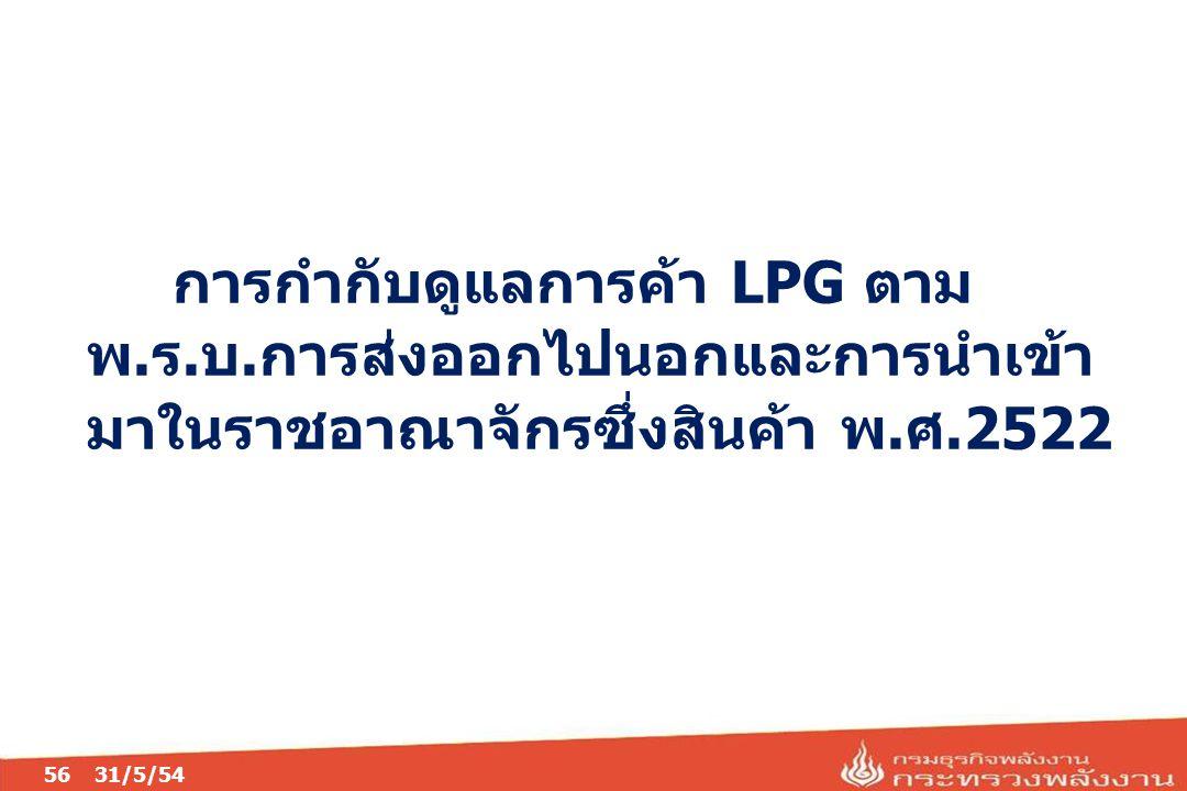 05/04/60 การกำกับดูแลการค้า LPG ตาม พ.ร.บ.การส่งออกไปนอกและการนำเข้า มาในราชอาณาจักรซึ่งสินค้า พ.ศ.2522.