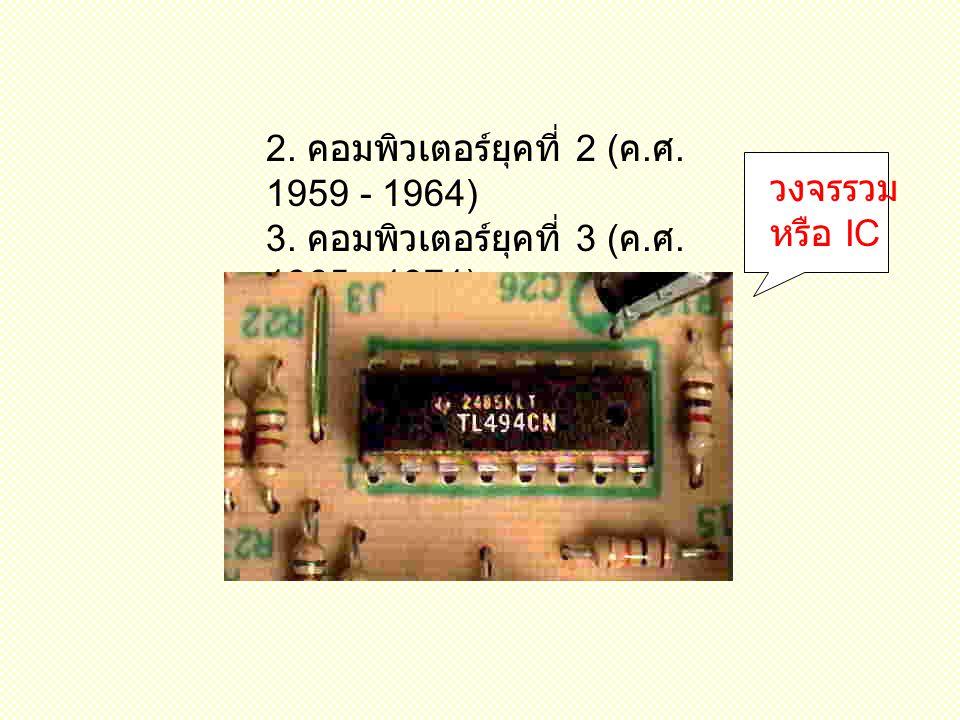 2. คอมพิวเตอร์ยุคที่ 2 (ค.ศ. 1959 - 1964) 3. คอมพิวเตอร์ยุคที่ 3 (ค.ศ. 1965 - 1971)