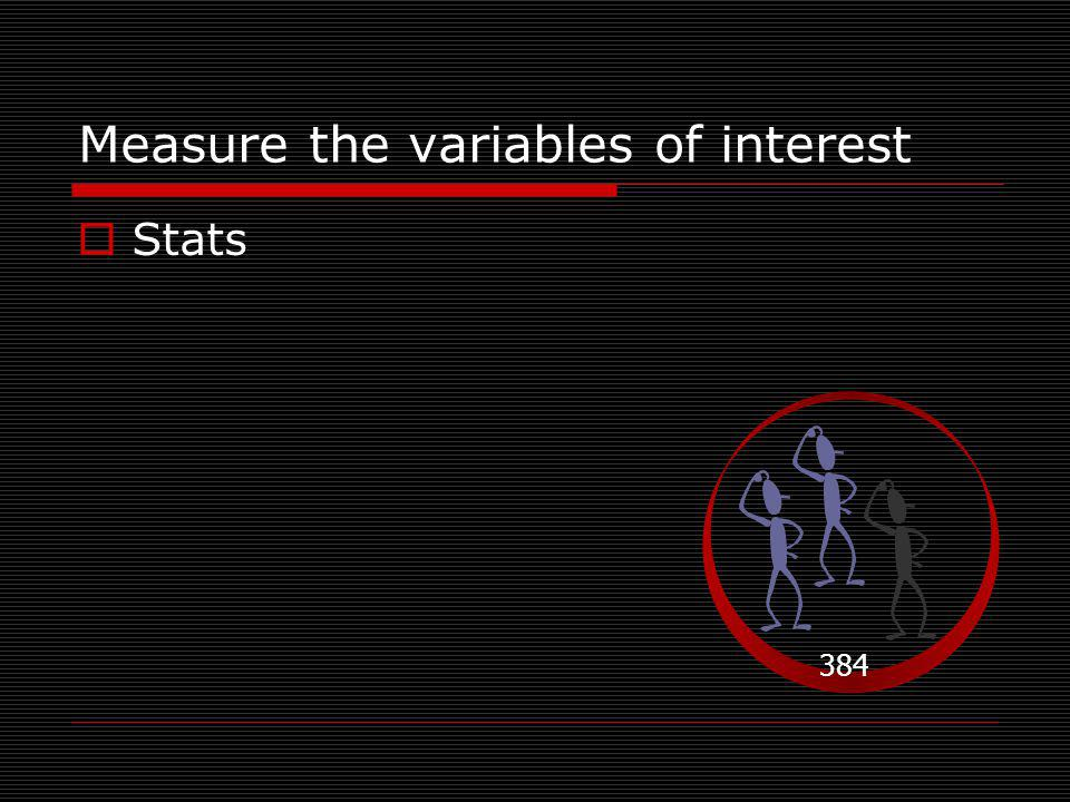 Measure the variables of interest