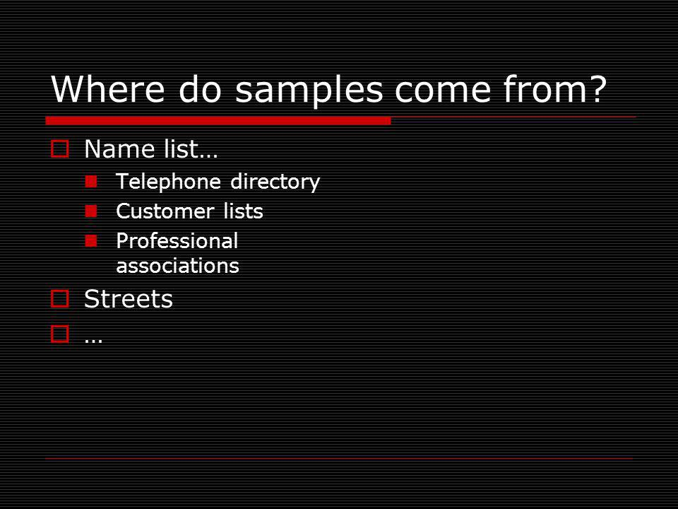 Where do samples come from