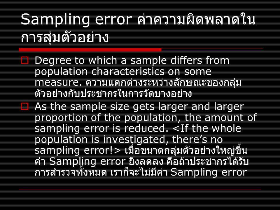 Sampling error ค่าความผิดพลาดในการสุ่มตัวอย่าง