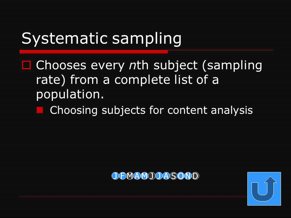 Systematic sampling Chooses every nth subject (sampling rate) from a complete list of a population.